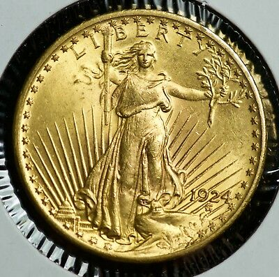 1924 Gold Saint Gaudens Twenty Dollar $20 Double Eagle Coin BU