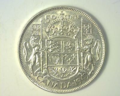 CANADA 1943 50-CENTS KM#36 SILVER ABOUT UNCIRCULATED .300 ASW ~337578-S612A-v-RI