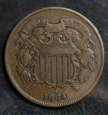 1864 Two Cents 2C Coin
