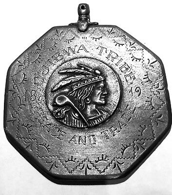 1819 Ojibwa Tribe Peace Medal 3D Chief on Front old fashioned bail at top