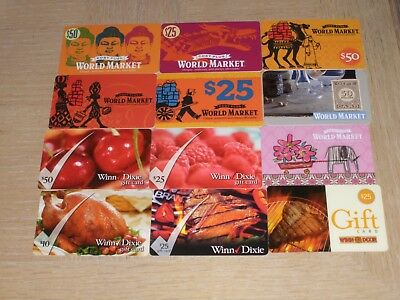 WINN DIXIE AND World Market 12 different new collectible gift cards - $7.49 | PicClick
