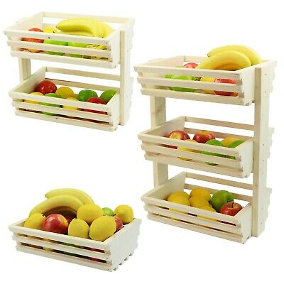 1,2,3 Tier Wooden Vegetable fruit food storage rack