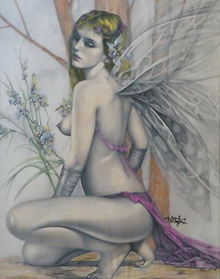 Original Drawing Pin Up Art Illustration Of Beautiful, Nude Woman Forest Nymph