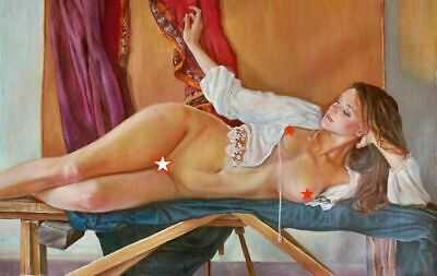 Huge Original Nude Pin Up Oil Painting Lovely Young Blond Woman Illustration Art