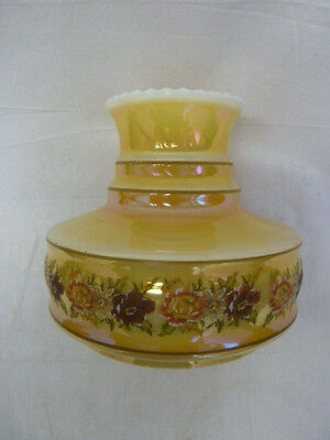 Vintage Oil Lamp Shade Iridescent Yellow W/Hand Painted Flowers