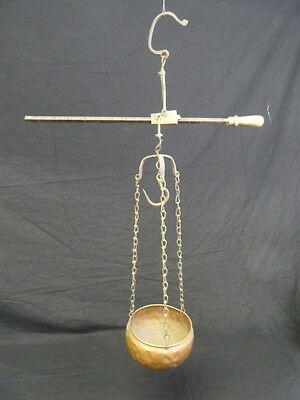 Antique Hanging Sliding Scale Balance Beam Brass With Iron Hook Copper Bowl