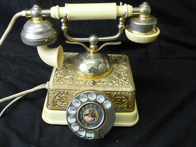 Vintage French Victorian Style Gold Brass Finish Rotary Dial Telephone