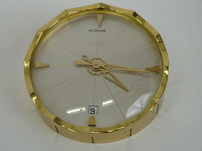 Vintage Le Coultre Gilt Brass Piecrust Edge 8 Day Desk Clock With Date