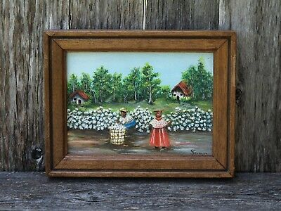 """Vtg 5"""" x 7"""" Oil on Canvas Painting Cotton Pickers Black Americana Signed Serrano"""