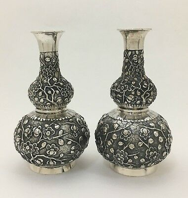 "Fine Asian Chinese Export Silver Embossed Repousse Bud Flower Vases Maker ""HG"""