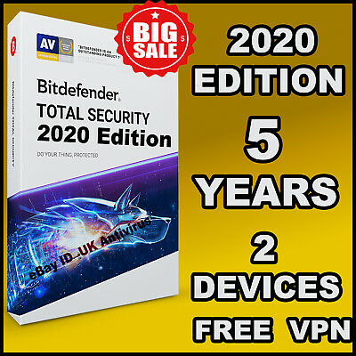 Bitdefender Total Security 2019 / 2020- 2 Devices 5 Years Activation - Download