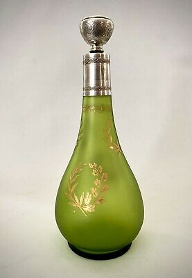 Antique French Green Frosted Glass Decanter Gold Overlay and Sterling Silver 950
