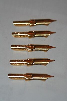 5 Vintage GOLD PLATED Ink Dip Pen Nibs- KADILLAC- GREGORY,MAYER&THOM-DETROIT