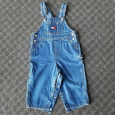 Vintage Tommy Hilfiger Jeans Denim Overalls Flag Size Kids 12-18 Months Youth