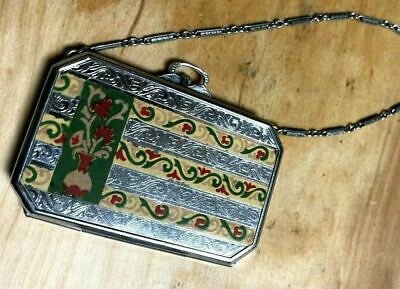 Enameled Art Deco Powder Compact w/Flowers & Etched Silver Tone Metal Long Chain