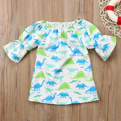 Newborn Kids Cute Cartoon Dinosaur Print Dress Baby Girls 3/4 Sleeves Outfits