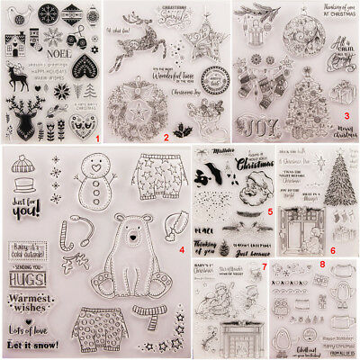 Christmas Transparent Silicone Clear Stamps Xmas DIY Scrapbook Embossing Card