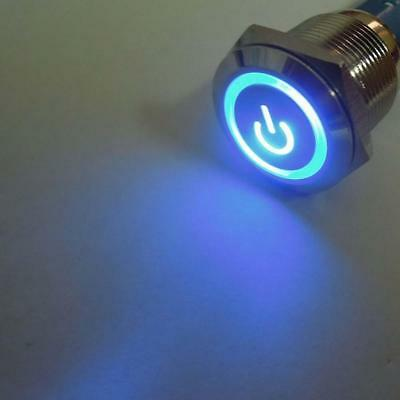 1pc Angel Eye Blue LED 16mm 12V Metal Switch Latching Push Power Button EH