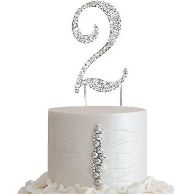 """2.5/"""" Tall Bling Rhinestone Number 4 Wedding Party Cake Toppers"""
