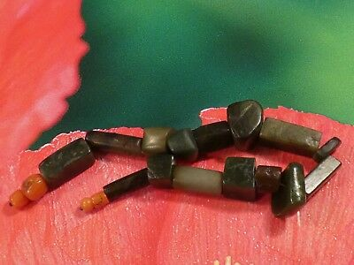 RARE ANCIENT SOUTH EAST ASIAN GREEN JADE BAN CHIANG BEAD STRAND 169 MM + coral