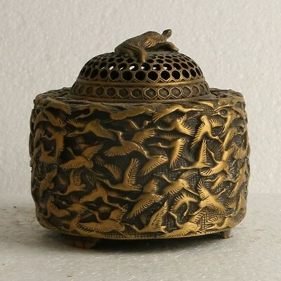 China Exquisite Brass Incense Burner Carved Birds W The Ming Dynasty Mark GL286