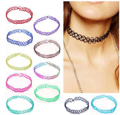 Stretch Tattoo Henna Choker Elastic ~Pick Color~ Pastel Goth Punk Retro 90s