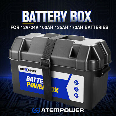 Large AGM Battery Box W/ Strap For 12V 24V 100 120 130 135 AH Batteries