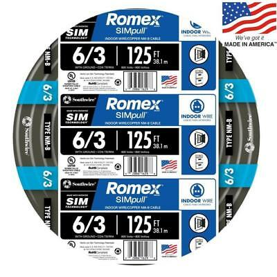 Romex 125' Roll 6-3 AWG Guage NM-B Indoor Electrical Copper Wire Cable w Ground