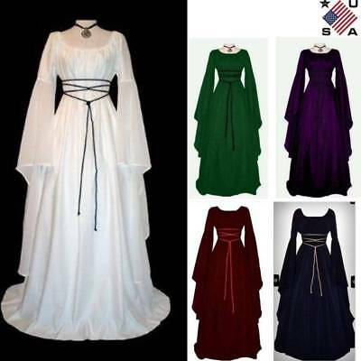Womens Halloween Retro Vintage Renaissance Gothic Costume Medieval Gown Dress US