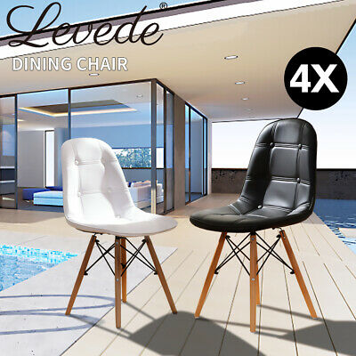 4X Retro Replica Eames Dining Chairs PU Leather Padded Seat Home Office Cafe New