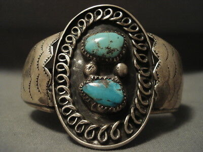 Very Old Navajo Persian Turquoise Silver Bracelet