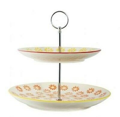 NEW 2-Tier General Eclectic Cake Stand - yellow orange floral (dora)