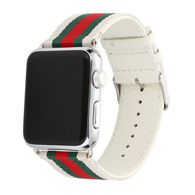 Replacement Stripe Pattern Sport Nylon Leather Band Strap for Apple Watch 38 42