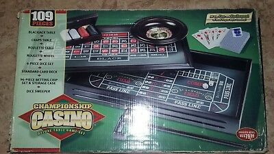 Deluxe 3 in 1 CASINO GAME SET, CRAPS TABLE , ROULETTE WHEEL and BLACKJACK BOARD