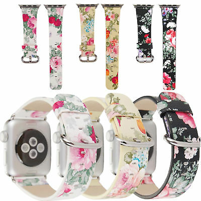 40MM / 44MM Lady Floral Leather Watch Band Wrist Strap For Apple Watch Series 45