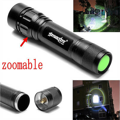Tactical 50000LM 3-Mode T6 LED Flashlight Zoomable Torch Hiking Lamp 18650 Light