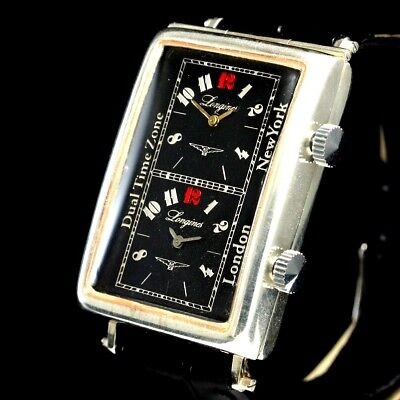 Men's Wrist Watches LONGINES Art Deco Sterling Silver Black Vintage Mens Watch