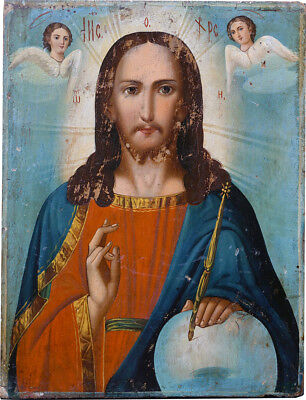 "Antique 19c Russian  Hand Painted Wood Icon ""Christ Pantocrator"""