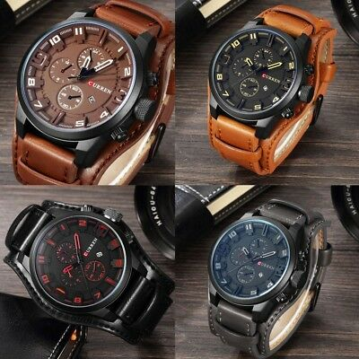 UK Curren Watch Army Quartz Wristwatches Leather band Man Casual Sports Watches