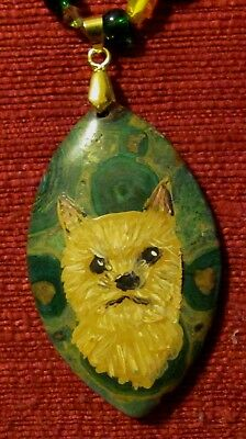 Norwich Terrier hand painted on marquis cut gemstone pendant/bead/necklace
