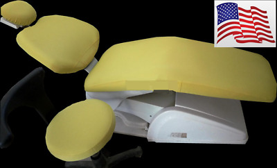 1 Set Dental Chair Unit Cover Cloth Dentist Stool Protector Sleeves Yellow USA