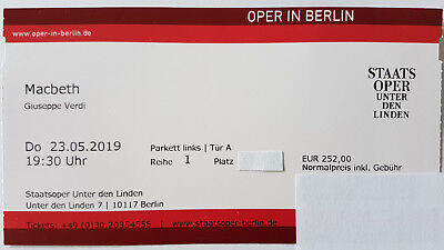 1 x Macbeth 23.05.2019 Berlin - Semenchuk Domingo Barenboim - Parkett 1. Reihe