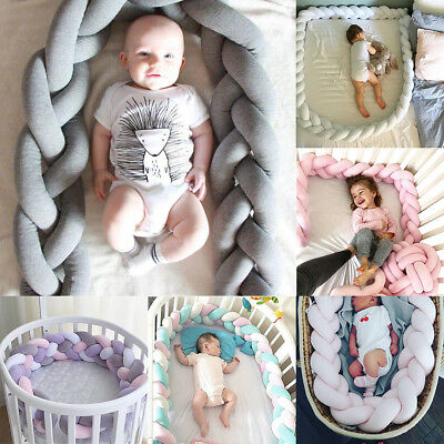 INS Baby Infant Plush Crib Bumper Bed Bedding Cot Braid Pillow Pad Protector