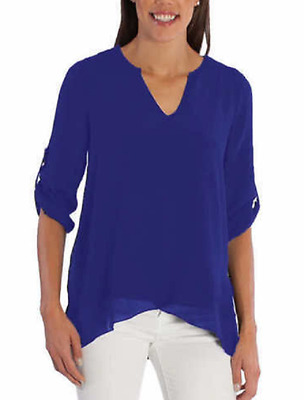 Fever Ladies' Roll Tab Blouse, Cobalt, Size S