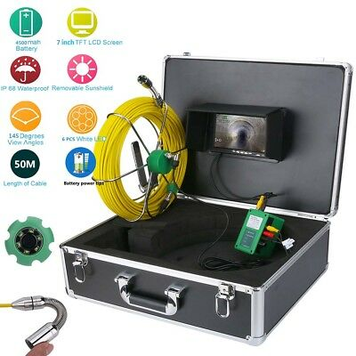 "50M IP68 Waterproof Drain Pipe Sewer Inspection Camera System 7""LCD 1000 TVL Cam"