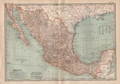1903 map of Mexico Adam & Charles Black