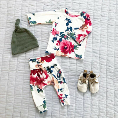 US Stock Cute Newborn Baby Girls Tops Sweatshirt Pants Floral Outfit Set Clothes