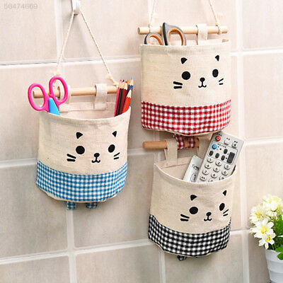 38F4 Cotton Single Pocket Wall Hanging Storage Bags Home Garden Holder Pouch
