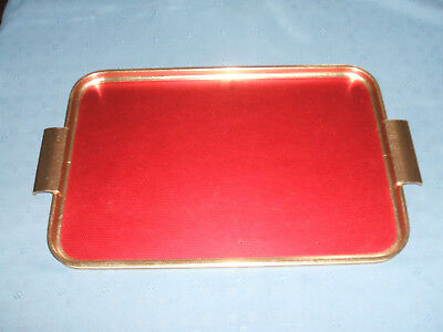 vintage woodmet red serving tray