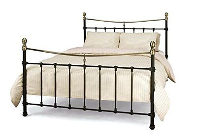 Victorian Antique Traditional style black & brass metal tubular bed frame